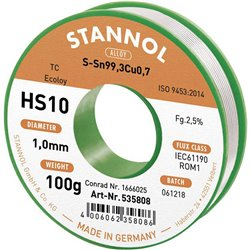 Stannol lödtråd HS10 1MM 100G rulle